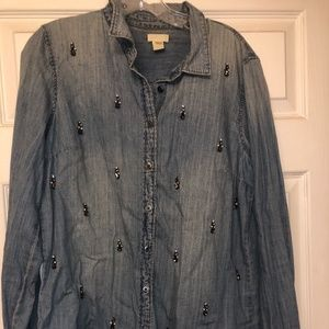 Button up Jean studded top